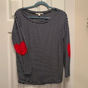 Navy and white stripped blouse with heart elbow